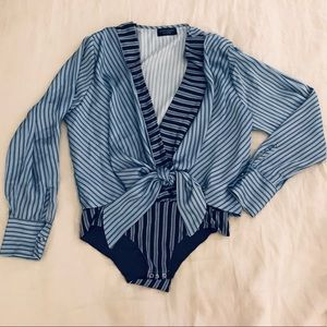 Zara Tie Front Bodysuit Blouse